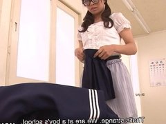 Japanese schoolgirl Kirioka Azusa takes her uniform off and
