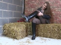 Riding girl almost caught wanking in the stable