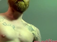 Red hair convict Chris prepares his cock for a blowjob