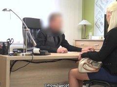 LOAN4K. Nice model in lingerie accepts sex for cash in loan office
