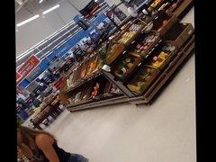 Candid voyeur tight body girl at Walmart booty shorts