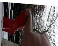 DGB06 - HOGE RODE HAKKEN IN SNEEUW - RED HIGH HEELS - SISSY