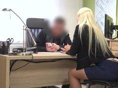 LOAN4K. Nice model in lingerie accepts sex for cash in loan