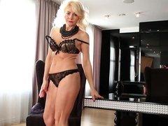 55yo. Lativian milf Sylvie masturbating her shaved pussy