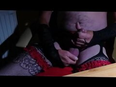 Shaking orgasm in black stocking and red lace