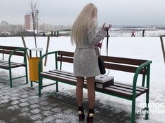 VERY HOT russian teen walking in hot high heeled boots