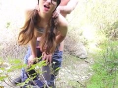 NERDY BRUNETTE BABE JAY TAYLOR BENT OVER AND FUCKED HARD IN PUBLIC