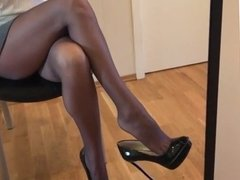 Hot russian 19 y.o. OFFICE SLUT posing in nylons and skirt