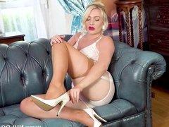 Babe strips panties tease big tits retro nylon garters heels