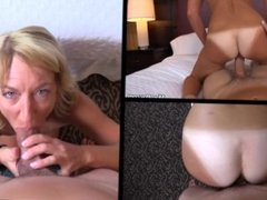 petite tan-lines granny cougar Daisy humps young guy hard on 3 screens POV