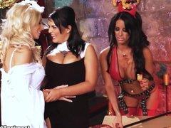 Jasmine Black has hot food threesome with 2 sexy girls