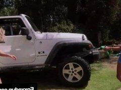 Car Wash Cunnilingus With Young Black Jenna Fox & Shy Love!