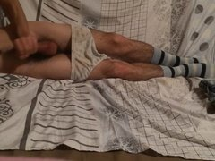 Teen undressing and masturbation in cute undies and socks