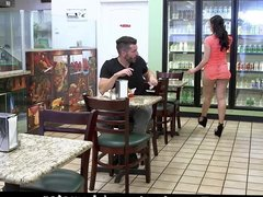 Big ass Mandy Muse fucks in a Diner's toilet