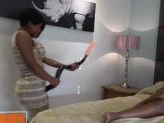 Young African Amateur Lesbians Share a Huge Dildo