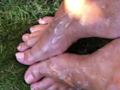 Cum on Oiled Feet in Public