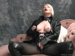 Blonde rubs big tits with leather wanks femdom teases whip