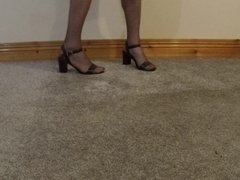 Male in nylons and heeles sandals