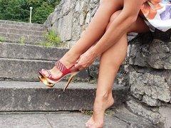 Showing my sexy feet on high heels
