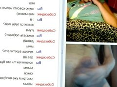 Videochat #145 Felt pen in a hairy pussy and my dick