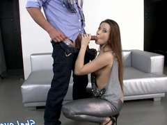 DP babe gets gaping asshole sprayed with cum