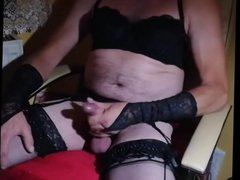 Amateur Cd Zolina cock jerking in black lace