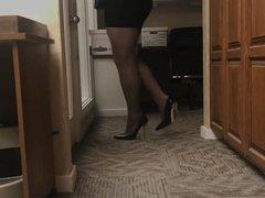 Milf with black pantyhose and heels teasing