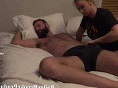 Girl fucks sleeping boyfriend until he fills her with cum