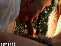 Lusty twink double teamed and facialized by friends outdoors