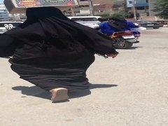 sexy hijab mom shaking big ass in the street - Falaha