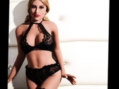 Blonde adult sex doll for male wear sexy lingerie is really hot