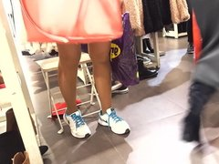 fr's sexy legs upskirt in pantyhose shoe shop