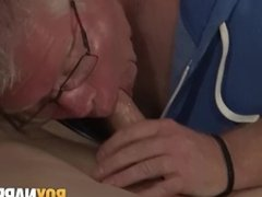 Mature pervert makes his bound slave jizz all over the place
