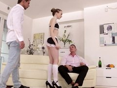 Skinny babe and her bisex muscular friends