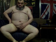 Fat Daddy Cums on his foot