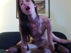 Young Skinny Girl with Small Breasts Fucking on the Sofa