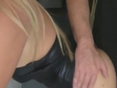 hot slut in latex takes cumshot in mouth and swallows cum