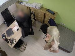 Agent promisses a lot of money to hottie is she pleases him