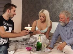 Boy didn't expect that old dad will fuck his hot GF Ria Sun