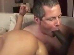 Cuckold husband sucks BBC when his wife get fucked hard