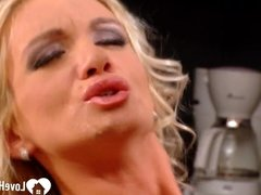 Blonde and her husband are fucking in kitchen.mp4