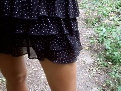 Walk in the woods in high heels (18 cm) and mini skirt