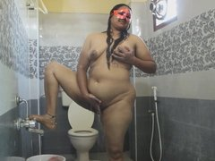 Desi Bhabhi Fingering Her Hairy Pussy While In Shower