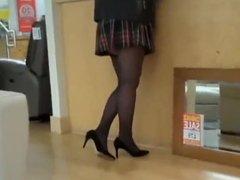 Slut out shopping in tartan mini, black stockings, 6 strap s