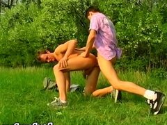 Two young homosexuals enjoy wild outdoor anal fucking