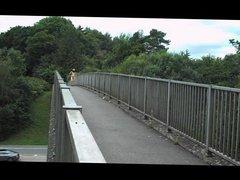 naked on road bridge