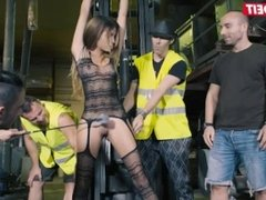 Hardcore fuck and torture in public for latina babe