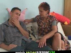 Older mom-inlaw seduces him into hot sex