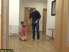 Skinny Pet slave girl give the best deepthroat in the house