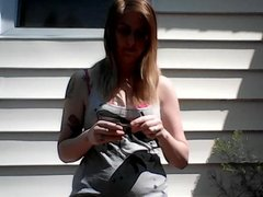Wife smoking and stripping outside
